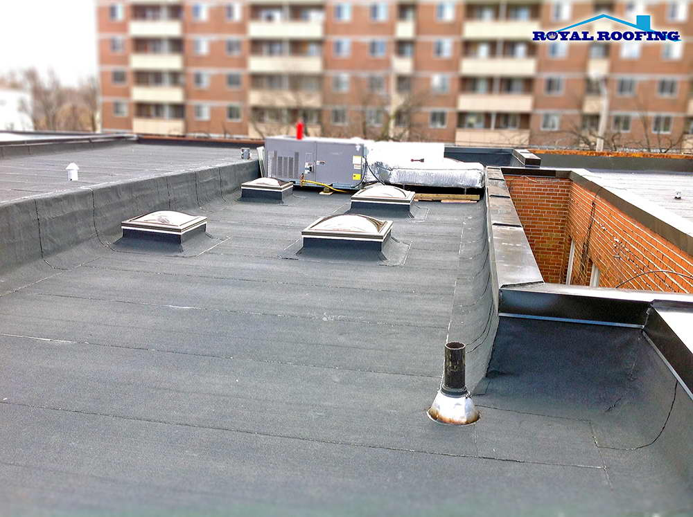 Flat roof in downtown Toronto